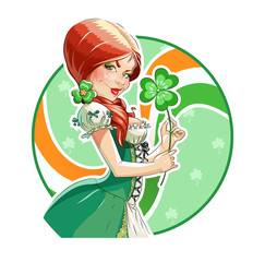 Beautiful girl with shamrock for saint Patricks day. Eps10