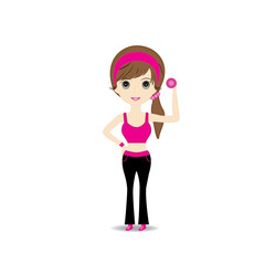 Woman exercising in sport outfit holding dumbbell smiling