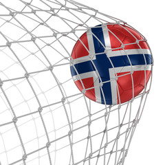 Norwegian soccerball in net. Image with clipping path