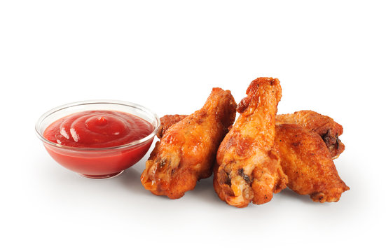 Fried chicken wings and ketchup