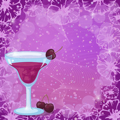 Background with Cocktail, Cherry and Flowers