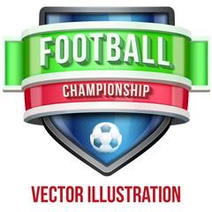 Label for football sport competition. Bright premium design