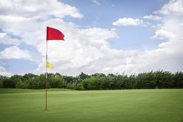 Flag on golf fairway with copyspace.