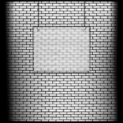brick wall with glass frame