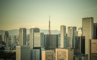 Retro style image of Tokyo, Japan