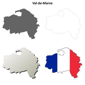 Val-de-Marne (Ile-de-France) outline map set