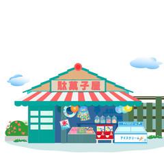 駄菓子屋、駄菓子屋さん、夏、風景、昭和、