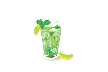 Summer refreshing drink of lime and mint with ice cubes