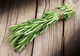 rosemary on aged wood