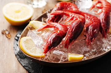 Raw fresh shrimps with ice and lemon