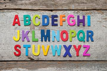 Colorful wooden English alphabet set