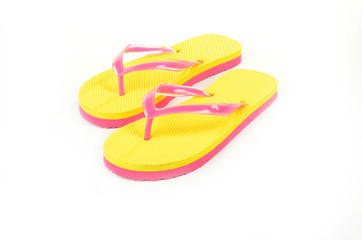 Flip Flops Yellow isolated on white