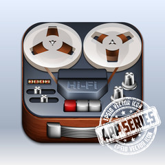 Reel to Reel Tape Recorder Icon. App Series