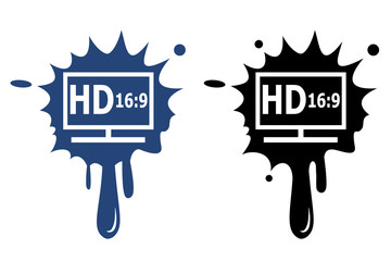 HD display blue and black icon