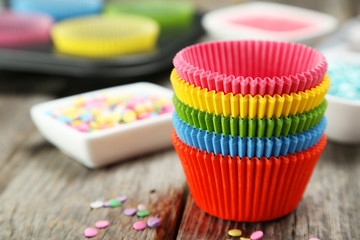 Empty colorful cupcake cases