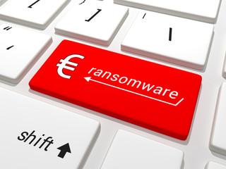 Ransomware Euro key on a keyboard