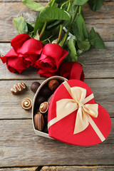 Beautiful heart gift box with chocolates