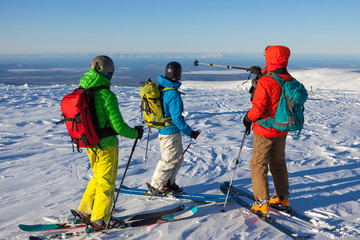 Group of skiers in the mountains