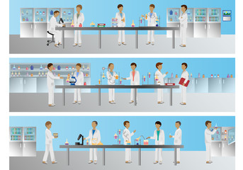 Medical Scientists - Laboratory Research, Different Situations Set - Vector Illustration, Graphic Design Editable For Your Design
