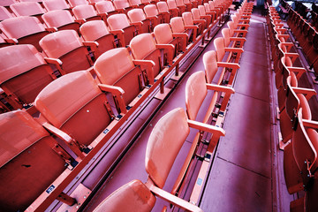 Aluminium Prints Stadion empty seats in the stands before the sporting event