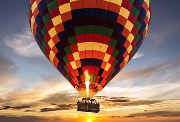 Hot air balloon flight sunset