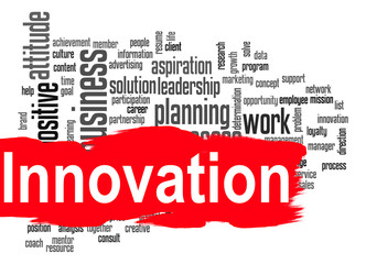 Innovation word cloud with red banner