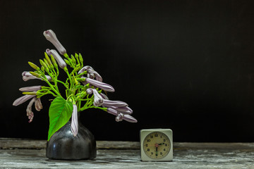 clock Flowers in a vase on a wooden clock after dark.