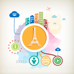 Eiffel tower and city on abstract colorful watercolor background