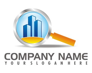 magnifying glass building logo image vector