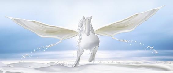 White Pegasus made out of milk splashes