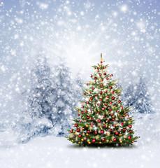 Wall Mural - Geschmückter Weihnachtsbaum