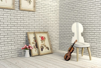 3D rendering white vintage room and decoration objects