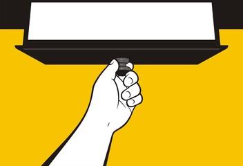 Fototapeta Hand opening drawer obraz