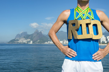 Gold Medal RIO Olympic Athlete Standing Ipanema Beach