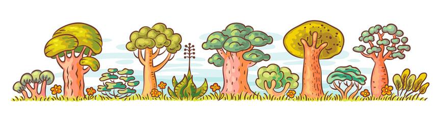 Cartoon Trees in a Row