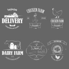 Farm Fresh Products Badge Set Vector Illustration.