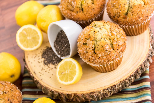 fresh baked lemon poppyseed muffins