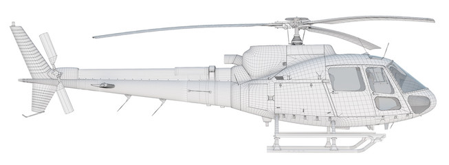 3D Wire Frame Helicopter