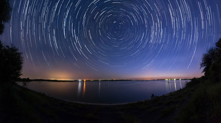 Star trails at the lake side