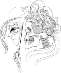 black and white illustration with skull holding a human face mas