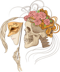 colorful illustration with skull holding a human face mask
