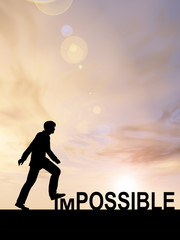Conceptual impossible concept with a man