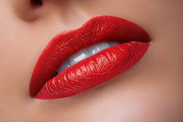 Close-up of Woman's Lips with Bright Fashion Red Lips