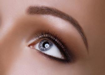 Macro Shot of Young European Woman's Beautiful Grey Eye