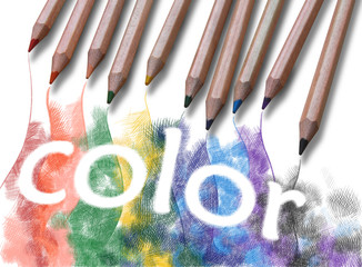 "The word ""color"" drawn with crayons"