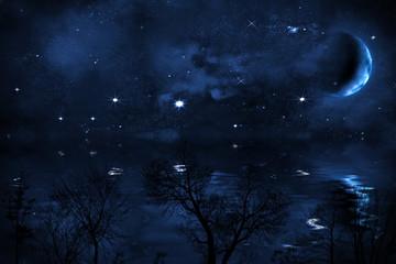 Sternenhimmel mit Mond über Meer, Sicht von Ufer