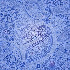 Vintage floral motif ethnic seamless background.
