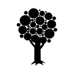 Black silhouette digital vector tree set