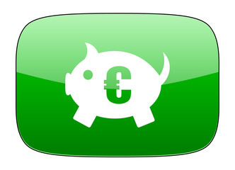 piggy bank green icon