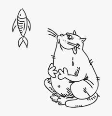 Cat who wants to eat a tasty fish vector drawn curve